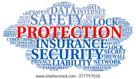 Protection info-text graphics and arrangement concept on white background (word cloud)