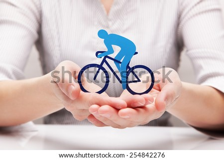 Protection of cyclist (concept) - stock photo