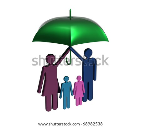 Protection of family under big umbrella isolated on white render