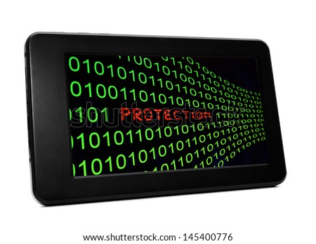 Protection on pc tablet - stock photo
