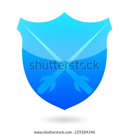 Protection shied with crossed swords, fencing icon - stock photo