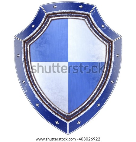 Protection shield. Isolated on white background. 3D illustration. - stock photo