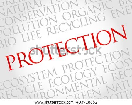 Protection word cloud, environmental concept - stock photo