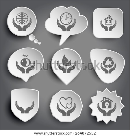 protection world, clock in hands, home, apple, life, protection nature, human hands, love, economy. White raster buttons on gray. - stock photo