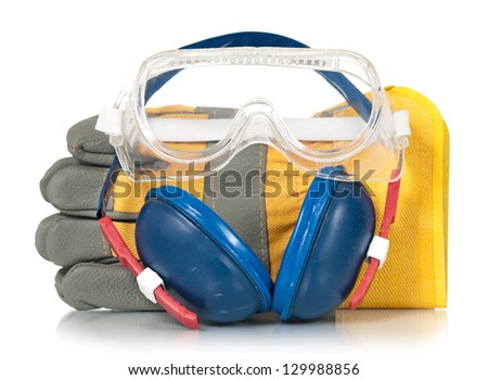 Protective accessories for worker isolated on white background cut-out - stock photo