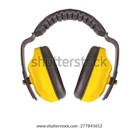 Protective ear muffs Isolated on a white background. - stock photo