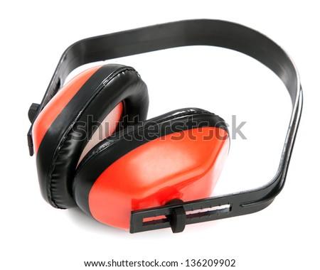 Protective earplugs on white background - stock photo