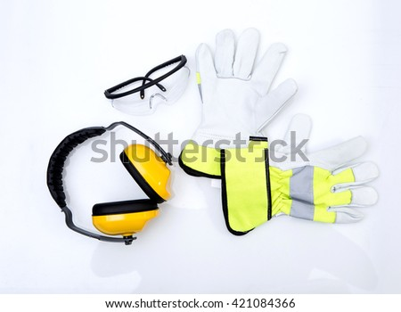 Protective equipment for industry, safety construction  - stock photo