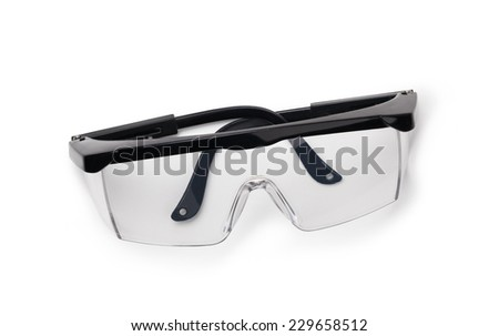 protective glasses isolated on a white background - stock photo
