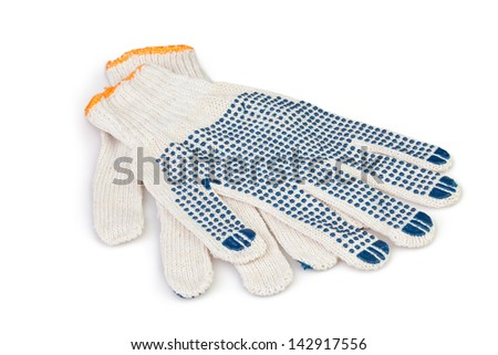 protective gloves working on white background