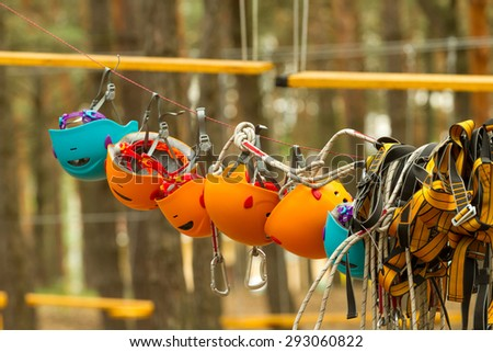 Protective helmets for rock climbing. - stock photo