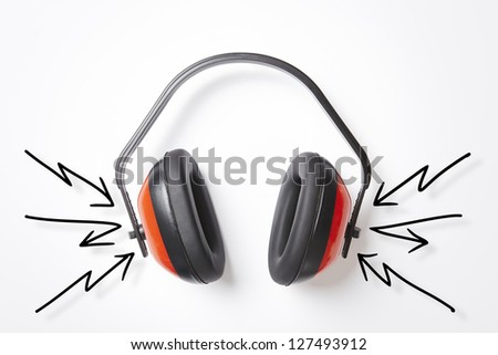 Protective red ear defenders on white background - stock photo