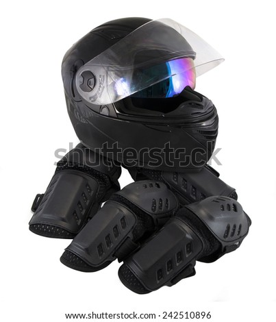 protector motorcycle protective gear knee pad riding Elbow Knee Pads and helmet - stock photo