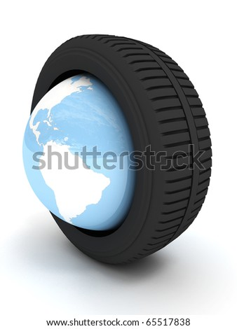 Protector with planet Earth isolated on white background. 3D - stock photo