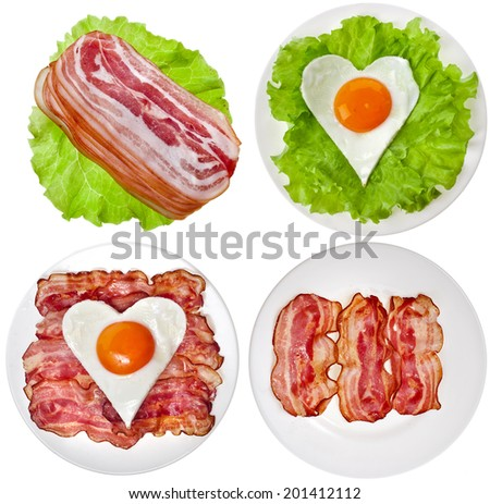 Protein foods nutritious meals on a plate with , bacon, egg, lettuce isolated on white background - stock photo