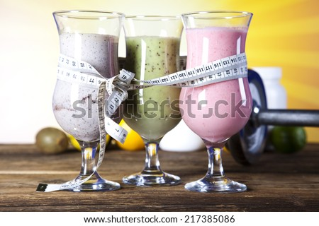 Protein shakes, sport and fitness  - stock photo