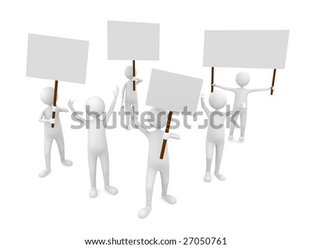 Protestation with posters - stock photo