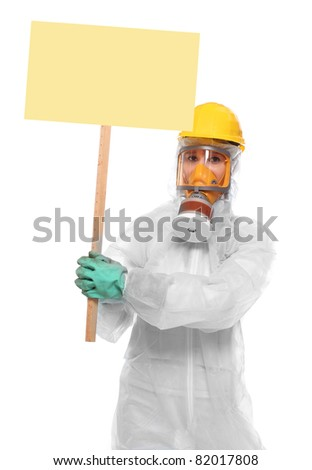Protester in protective suit for bio-hazard with blank protest sign. - stock photo
