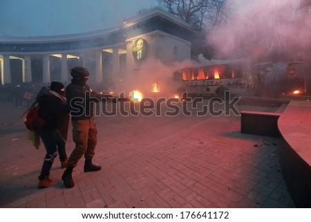Protesters shot fireworks at police. Kyiv, Ukraine, January 19, 2014 - stock photo