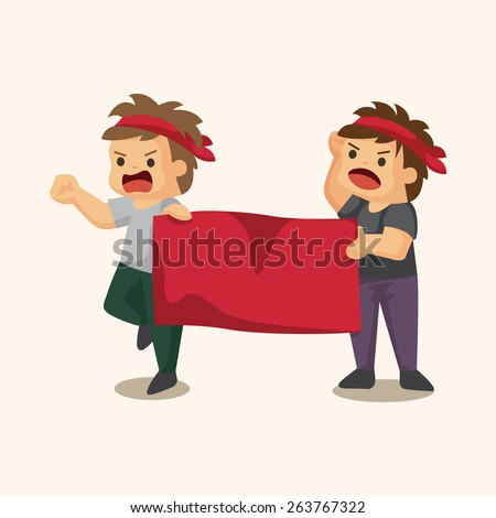 Protesters theme elements - stock photo