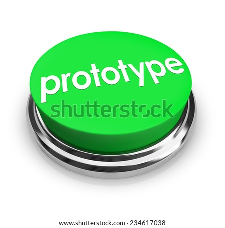 prototype word on a 3d green button to press and get an instant mock up