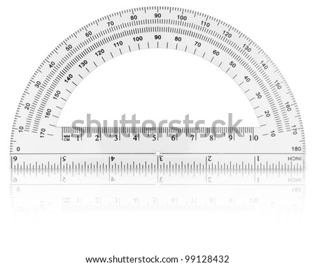 Protractor isolated on white background - stock photo