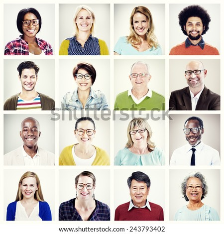 Protrait of Group Diversity People Community Happiness Concept - stock photo
