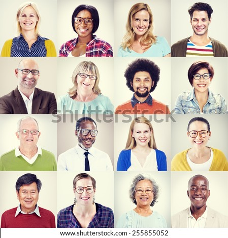 Protrait of Group Diversity People Community Happiness Concept