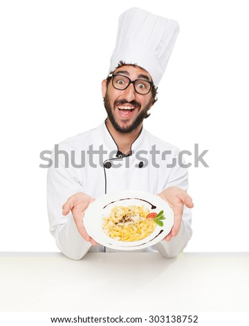 proud cook man with pasta