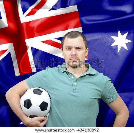 Proud football fan of Australia - stock photo
