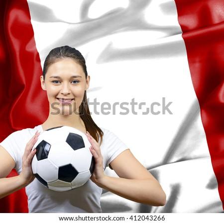 Proud woman football fan of Peru - stock photo