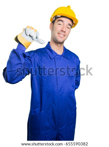 Proud workman on white background
