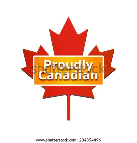 Proudly Canadian label with maple leaf illustration, isolated on white background  - stock photo