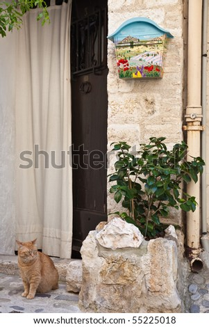 Provencal doorway on the Cote d'Azur - stock photo