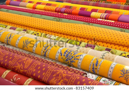 Provencal fabric at a French market - stock photo