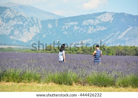 PROVENCE, FRANCE - JUNE 24, 2016 -  young people playing jumping and making photos in a blue lavender field in Provence in the south of france