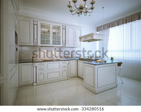Provence interior of luxury kitchen. White furniture with bar, large window and daily light. 3D render