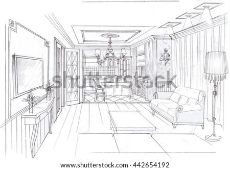 provence interior sketchy illustration.Hand drawn - stock photo