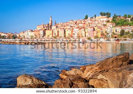 Provence village Menton ocean view - stock photo