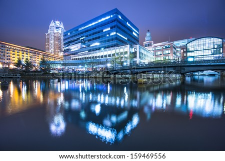 Providence, Rhode Island buildings at Waterplace Park. - stock photo