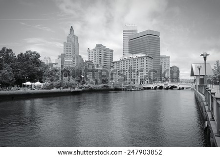 Providence, Rhode Island. City skyline in New England region of the United States. Black and white tone - retro monochrome color style. - stock photo