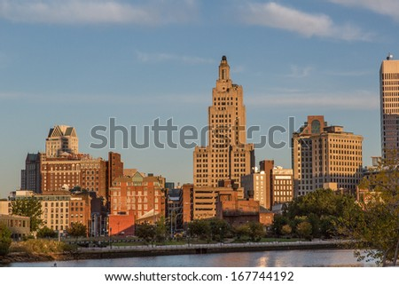 Providence Skyline at Dawn over the Providence River - stock photo