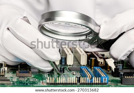 Provider. Quality control of electronic components on PCB in laboratory high-tech factory - stock photo