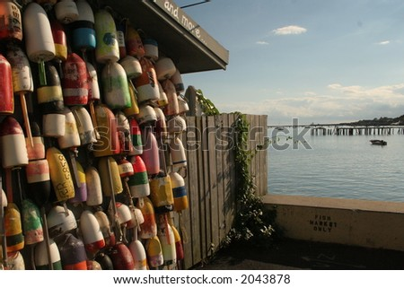 provincetown lobster pots - stock photo