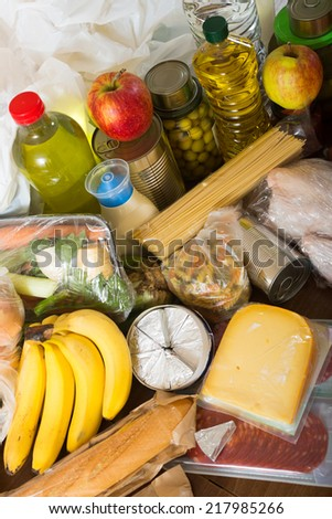 Provision with vegetables and meat for  family - stock photo