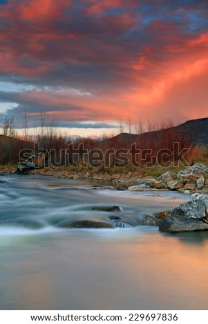 Provo River sunset, Utah, USA.