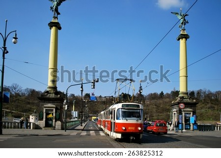PRQGUE, CZECHOSLOVAKIA - MARCH 23. The  tram system is a fast and reliable transport system linking city shopping with business and residential districts. March 23, 2014 in Prague, Czechoslovakia. - stock photo