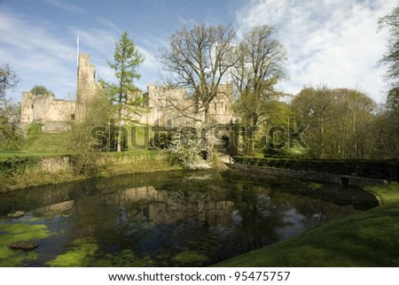 Prudhoe Castle, a medieval fortress in Northumberland on the England/Scotland border. - stock photo