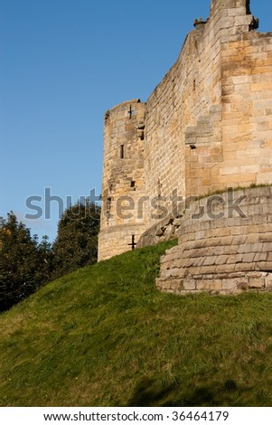 Prudhoe Castle in the tyne valley, Northumberland, North East England - stock photo