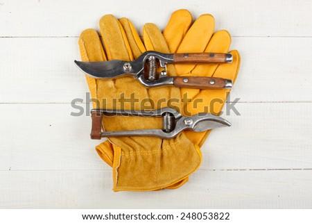 Pruner on garden gloves - stock photo